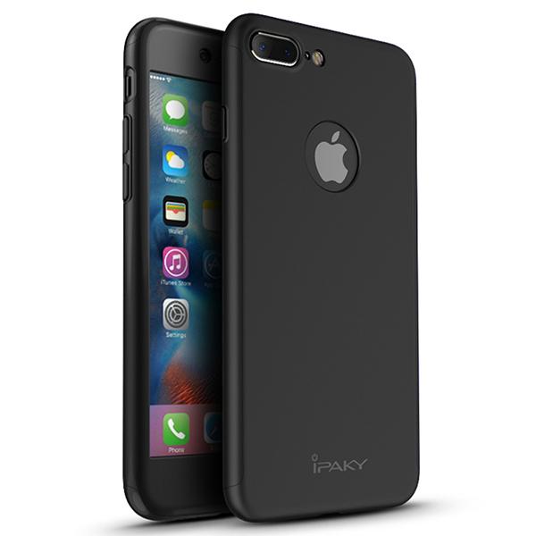 Θηκη IPAKY Classic 360° για Apple iPhone 7 Plus Μαυρη and προστατευτικο Τζαμι